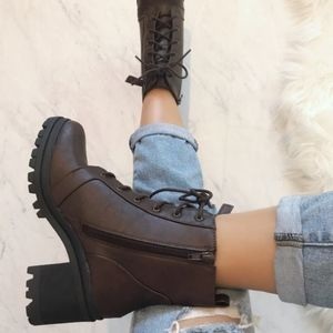 Shoes - Brown Lace-Up Heeled Combat Bootie